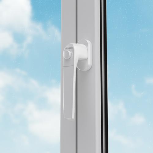 SCHÜCO Design-Fenstergriff mit Druckknopf/Kindersicherung